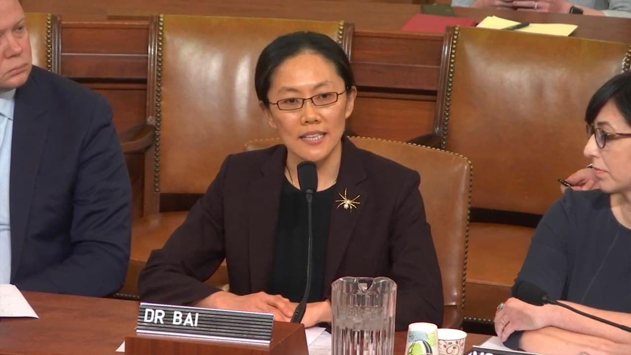 Ge Bai (Ph.D. Accounting and Information Systems '12) dressed in a suit, seated and speaking into a microphone at a Congressional hearing.