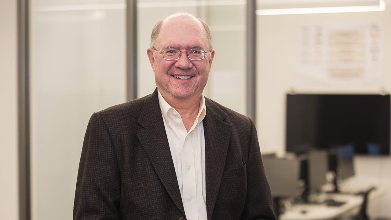 John Hollenbeck, Eli Broad Professor of Management, pictured in the team leadership lab in the Minskoff Pavilion.
